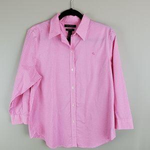 Lauren Ralph Lauren Non-Iron Pink Check Shirt L